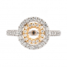Round 4.5mm Semi Mount In 14K Dual-Tone Gold With White Diamonds Double Halo Ring