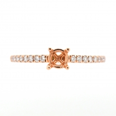 Round 4x4mm Ring Semi Mount in 14K Rose Gold with White Diamonds