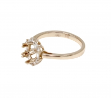 Round 5.7mm Ring Semi Mount 14k Gold with White Diamonds (RG0641)