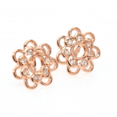 Round 5mm Earring Semi Mount in 14K Rose Gold With White Diamonds