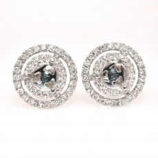 Round 5mm Earring Semi Mount in 14K White Gold With White Diamonds