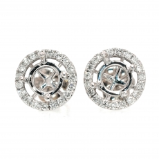 Round 5mm Halo Earring Semi Mount in 14K White Gold With White Diamonds
