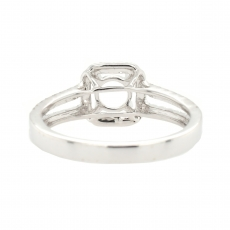 Round 5mm Halo Split Shank Ring Semi Mount in 14K White Gold With White Diamond