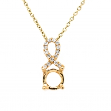 Round 5mm Pendant Semi Mount in 14K Yellow Gold With Diamond Accents (PSR046)