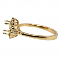 Round 5mm Ring Semi Mount In 14K Gold With White Diamonds