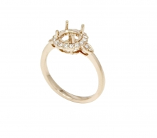 Round 6.5mm Halo Ring Semi Mount In 14K Gold With White Diamond (RG0383)