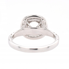 Round 6mm Double Halo Ring Semi Mount in 14K White Gold With White Diamond