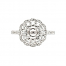 Round 6mm Flower Halo Ring Semi Mount in 14K White Gold With White Diamond