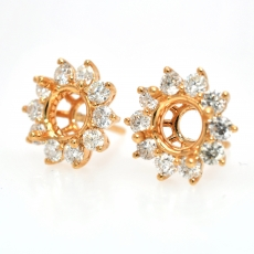 Round 6mm Halo Earring Semi Mount in 18K Yellow Gold With White Diamonds