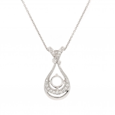 Round 6mm Pendant Semi Mount in 14K White Gold With White Diamond (PSR021)