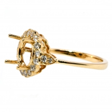 Round 7.5mm Ring Semi Mount In 14K Gold With White Diamonds