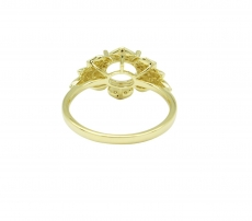 Round 7mm Flower Style Ring Semi Mount In 14K Gold With White Diamonds  (RG1353)