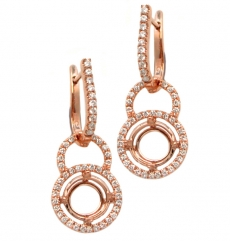 Round 7mm Halo Earring Dangle Semi Mount in 14K RoseGold With White Diamonds