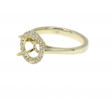 Round 7mm Halo Ring Semi Mount In 14K Gold With White Diamonds (RG2174)