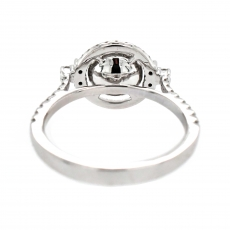 Round 7mm Ring Semi Mount for Pearls in 14K White Gold With White Diamonds