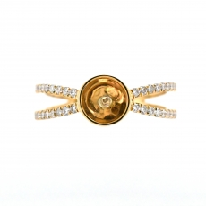 Round 7mm Ring Semi Mount for Pearls in 14K Yellow Gold With White Diamonds