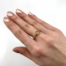 Round 7mm Ring Semi Mount for Pearls in 14K Yellow Gold with White Diamonds (RG2591)