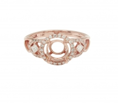 Round 7mm Ring Semi Mount In 14K Gold With White Diamonds (RG0253)