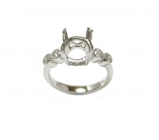 Round 7mm Ring Semi Mount In 14K Gold With White Diamonds (RG1351)