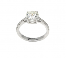 Round 7mm Ring Semi Mount In 14K Gold With White Diamonds (RG2716)