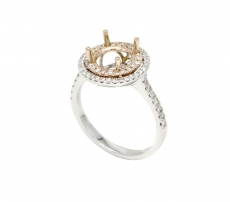 Round 8mm Double Halo Ring Semi Mount 14k Gold with White Diamonds ( RG1413 )