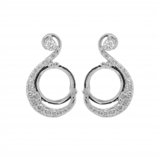 Round 8mm Earring Semi Mount in 14K White Gold with White Diamonds