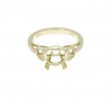 Round 8mm Ring Semi Mount 14k Gold with White Diamonds ( RG0324 )