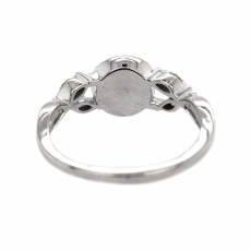 Round 8mm Ring Semi Mount for Pearls in 14K White Gold With White Diamonds