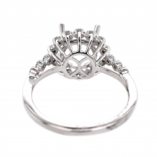 Round 8mm Ring Semi Mount in 14K White Gold with White Diamonds