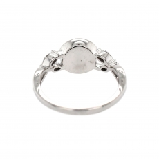 Round 9mm Ring Semi Mount for Pearls in 14K White Gold With White Diamonds