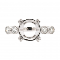 Round 9mm Ring Semi Mount in 14K White Gold With White Diamond