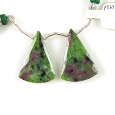 Ruby Zoisite Drops Conical Shape 29x21mm Drilled Beads Matching Pair