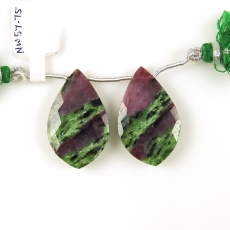 Ruby Zoisite Drops Leaf Shape 32x20mm Drilled Beads Matching Pair
