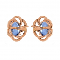 Sapphire 5.10 Carat With Accented Diamond Stud Earring in 14K Rose Gold