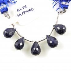 Sapphire Drops Briolette Shape 12x8mm to 11x8mm Drilled Beads 5 Pieces Line