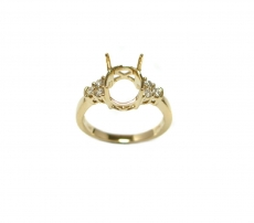 Simple Classic Oval 10x8mm Ring Semi Mount In 14K Gold With White Diamonds on side (RG2650)