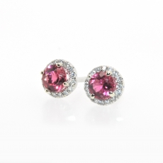 Simple Rubellite Tourmaline 0.69 Carat  And Diamond Halo Earring Stud In 14k White Gold
