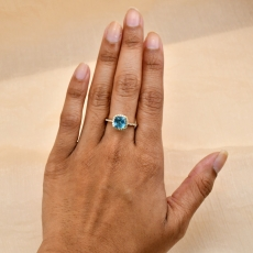 Sky Apatite Cushion 1.66 Carat Ring With Diamond Accent in 14K Yellow Gold
