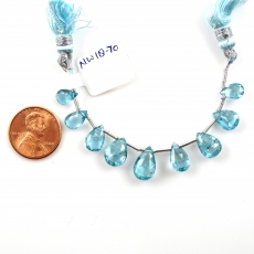 Sky Apatite Drops Almond Shape 11x8mm To 9x6mm Drilled Beads 9 Pieces Line