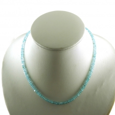 Sky Apatite Facted Roundelle Beads 66 Carat 4mm Ready To Wear Necklece
