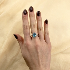 Sky Apatite Oval 1.90 Carat Ring With Diamond Accent in 14K White Gold