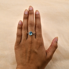 Sky Apatite Oval 1.99 Carat Ring With Diamond Accent in 14K Rose Gold