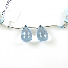 Sky Blue Topaz Drops Briolette Shape 15x9MM Drilled Beads Matching Pair