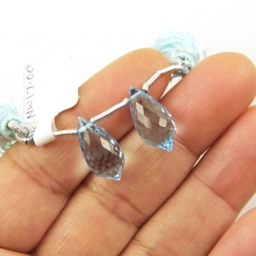 Sky Blue Topaz Drops Briolette Shape 16x8mm Drilled Beads Matching Pair