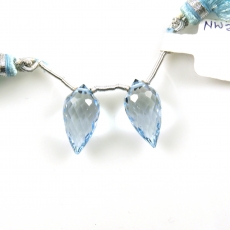 Sky Blue Topaz Drops Briolette Shape 17x9MM Drilled Beads Matching Pair