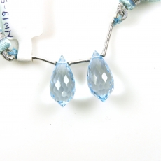 Sky Blue Topaz Drops Briolette Shape 18x8MM Drilled Beads Matching Pair