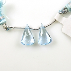 Sky Blue Topaz Drops Conical Shape 16x10MM Drilled Beads Matching Pair