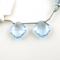 Sky Blue Topaz Drops Cushion Shape 13x13mm Drilled Beads Matching Pair