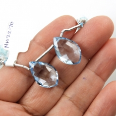 Sky Blue Topaz Drops Leaf Shape 19x12MM Drilled Beads Matching Pair