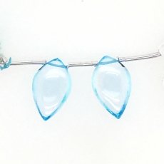 Sky Blue Topaz Drops Leaf Shape 20x12mm Drilled Beads Matching Pair